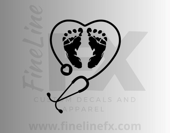 OB Nurse Stethoscope Heart And Baby Foot Prints Obstetrician Vinyl Decal Sticker - FineLineFX