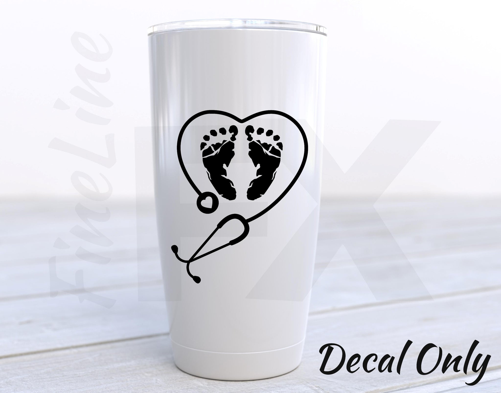 OB Nurse Stethoscope Heart And Baby Foot Prints Obstetrician Vinyl Decal Sticker