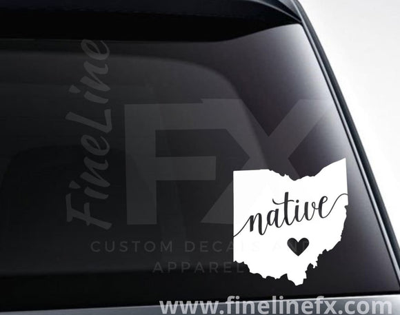 Ohio Native Vinyl Decal Sticker - FineLineFX