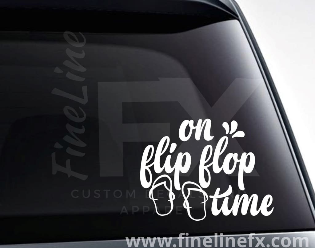 On Flip Flop Time Vinyl Decal Sticker