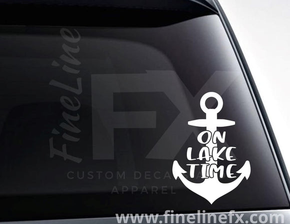 On Lake Time Anchor Vinyl Decal Sticker - FineLineFX