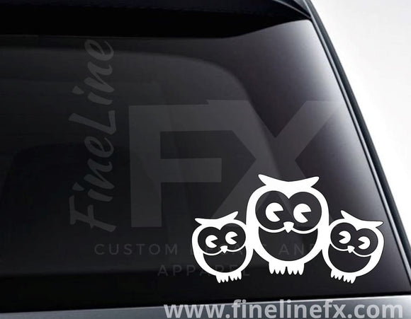 Owl Family Of 3 Vinyl Decal Sticker - FineLineFX