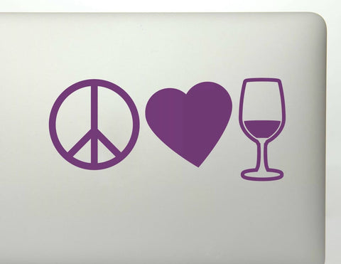 Peace Love And Wine Vinyl Decal Sticker