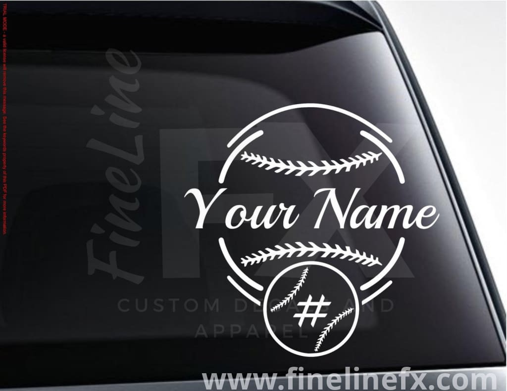 Personalized Baseball Vinyl Decal Sticker