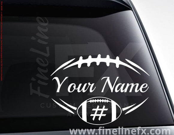 Personalized Football Vinyl Decal Sticker - FineLineFX