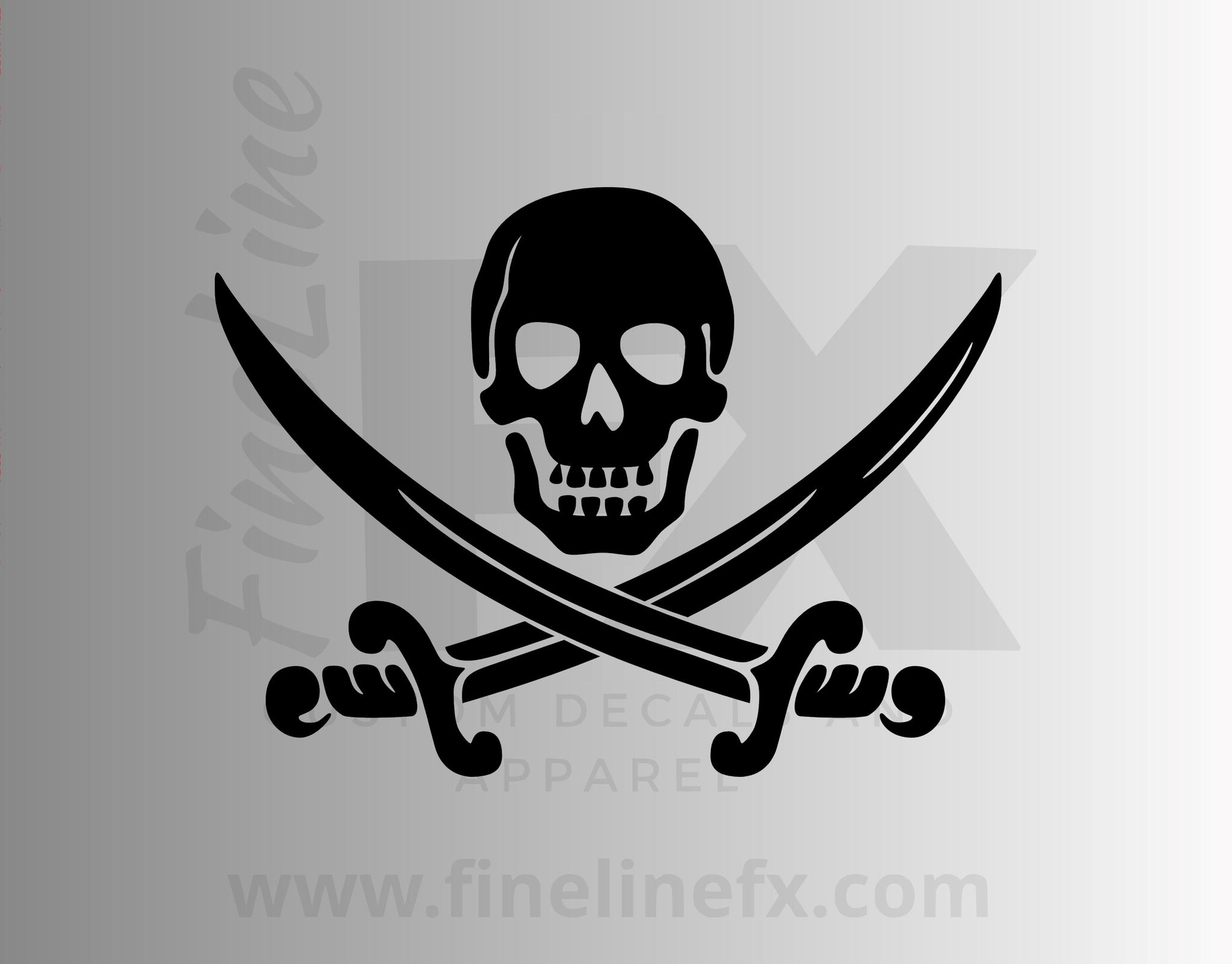 Pirate Skull With Crossed Swords Vinyl Decal Sticker