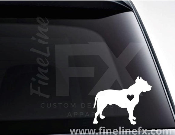 Pit Bull with a heart vinyl decal / Sticker - FineLineFX