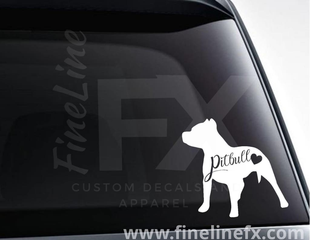 Pitbull With Heart Vinyl Decal Sticker