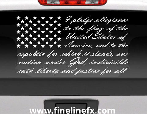 Pledge Of Allegiance American Flag Vinyl Decal Sticker for Cars Trucks and More.