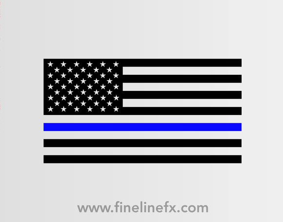 USA American Flag with Blue Line for Police Support Vinyl Decal Sticker - FineLineFX