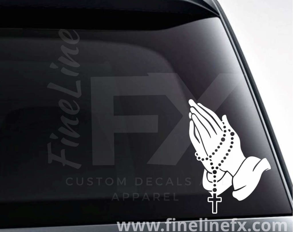 Praying Hands With Rosary Beads Vinyl Decal Sticker