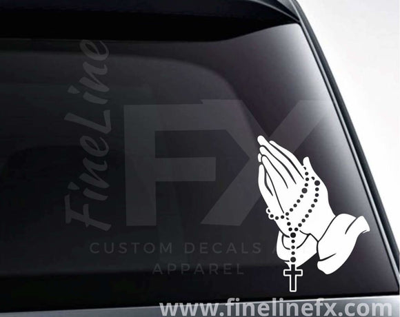Praying Hands With Rosary Beads Vinyl Decal Sticker - FineLineFX