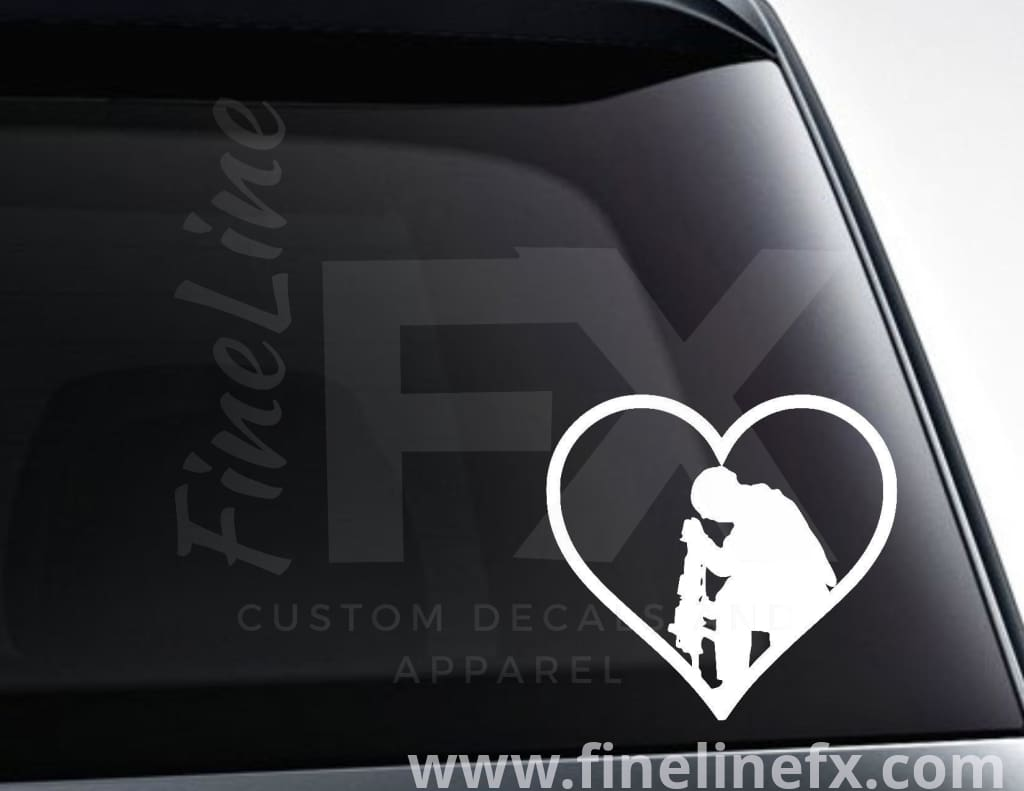 Praying Soldier In A Heart Vinyl Decal Sticker