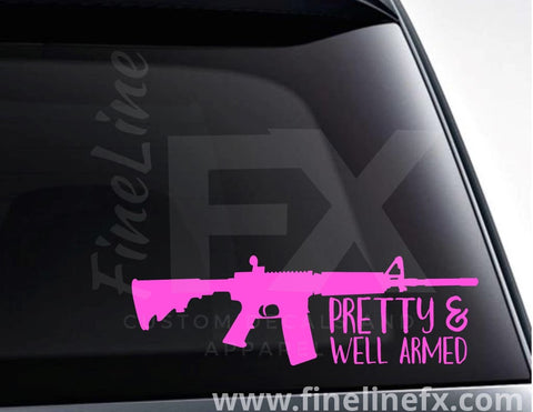 Pretty And Well Armed Rifle Silhouette Vinyl Decal Sticker