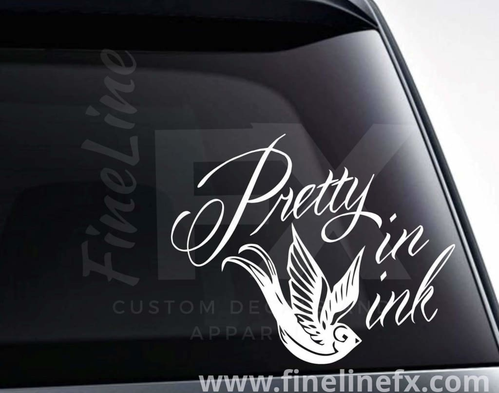 Pretty In Ink Tattoo Bird Vinyl Decal Sticker