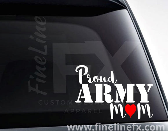 Proud Army Mom Vinyl Decal Sticker - FineLineFX