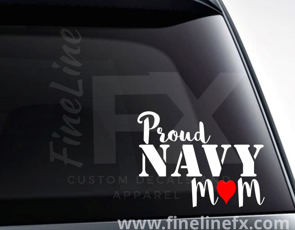 Proud Navy Mom Vinyl Decal Sticker
