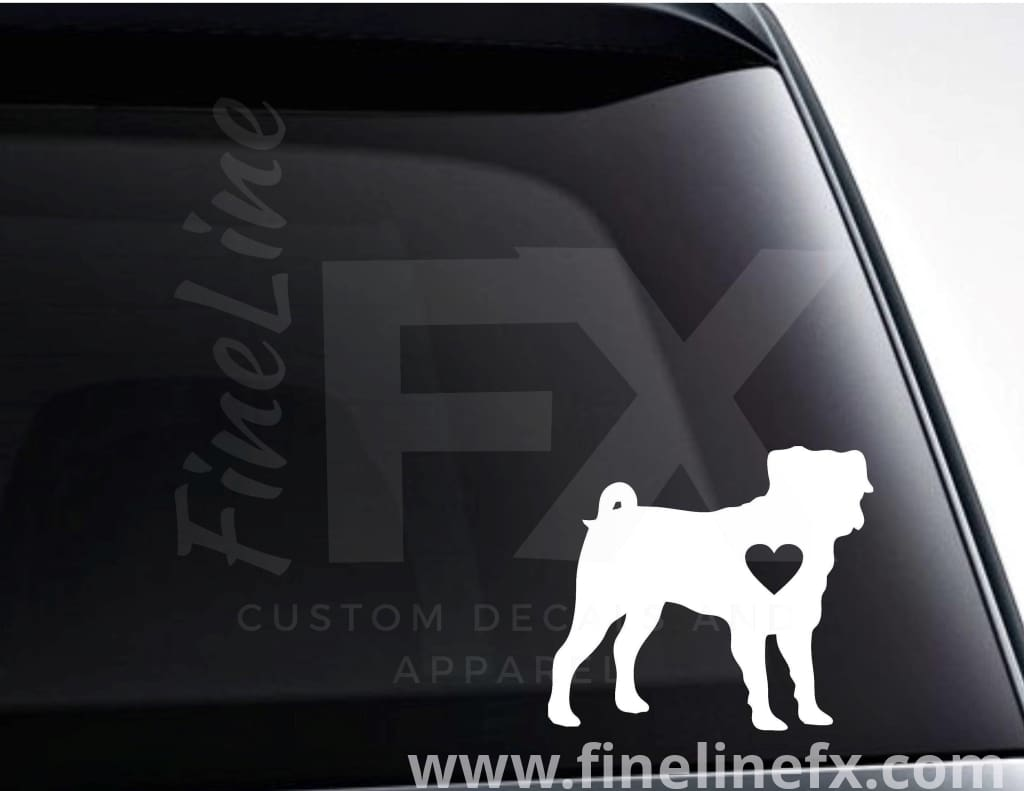 Pug Dog With A Heart Vinyl Decal Sticker