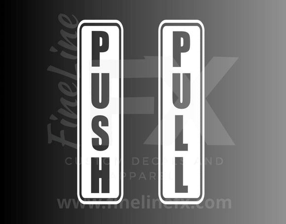 Push Pull Door Stickers Vinyl Decal Stickers - FineLineFX