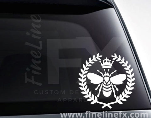 Queen Bee With Laurel Wreath Vinyl Decal Sticker