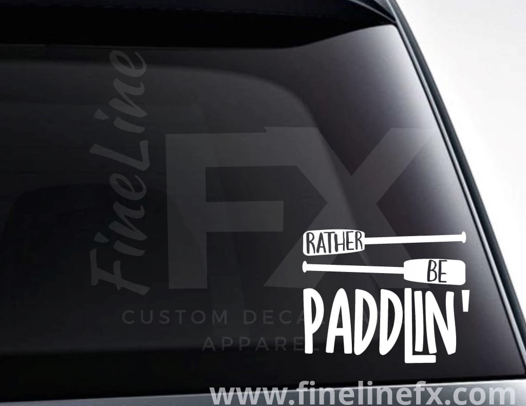 Rather Be Paddlin' Canoe Oars Vinyl Decal Sticker
