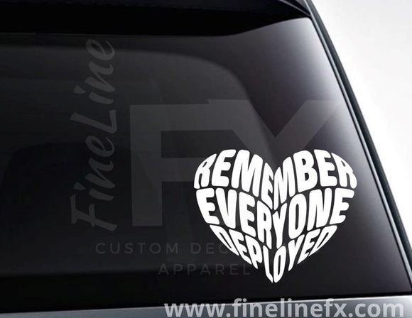 Remember Everyone Deployed Heart Vinyl Decal Sticker - FineLineFX