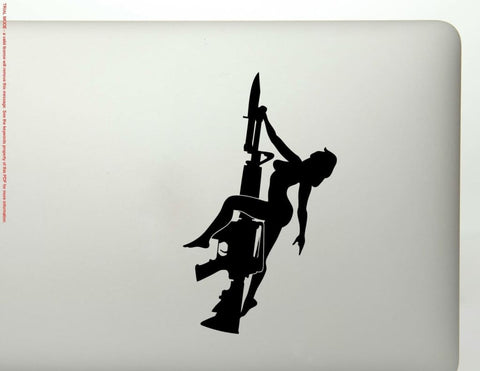 Rifle And Girl Vinyl Decal Sticker