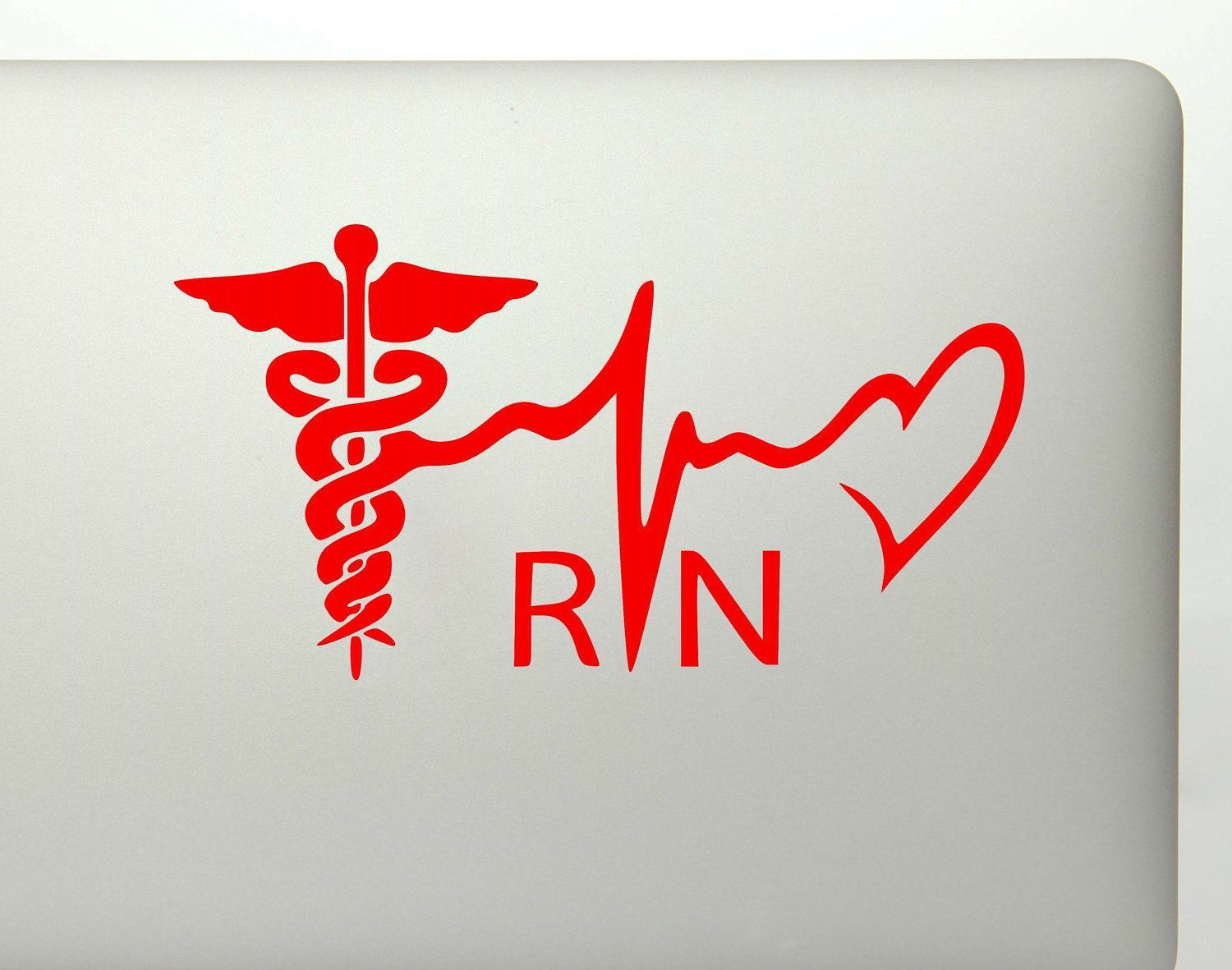 RN Nurse Medical Symbol Heartbeat Vinyl Decal Sticker.