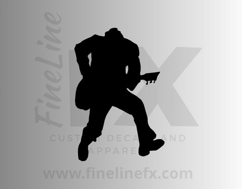 Heavy Metal Rock Guitarist Silhouette Vinyl Decal Sticker