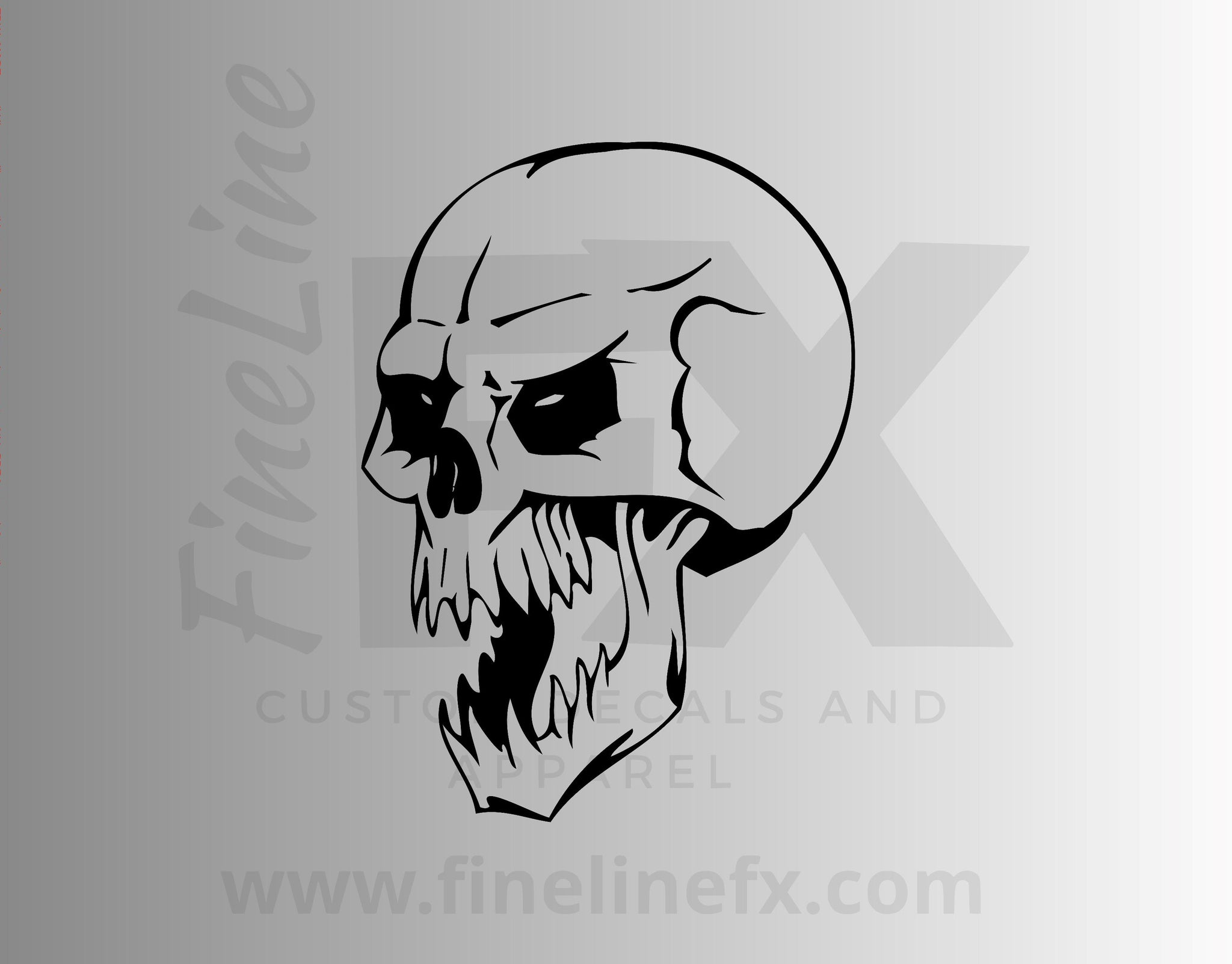 Evil Screaming Skull Vinyl Decal Sticker