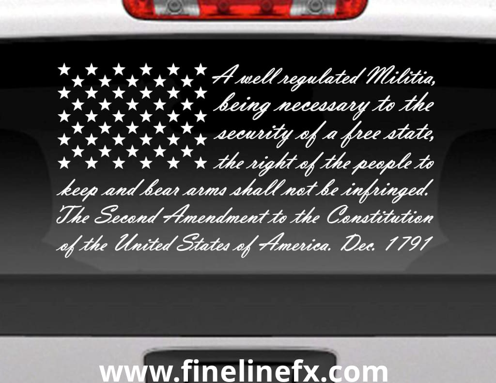 Second Amendment American Flag Vinyl Decal Sticker For Cars Trucks and More