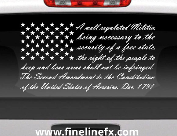 Second Amendment American Flag Vinyl Decal Sticker For Cars Trucks and More - FineLineFX