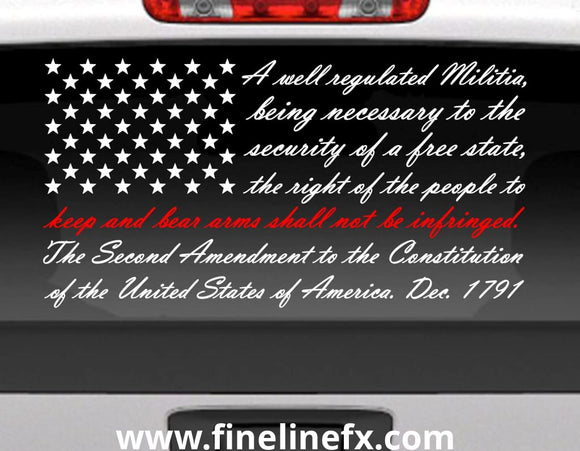 Second Amendment American Flag With Red Line for Fireman Support Vinyl Decal Sticker for Cars Trucks and More - FineLineFX
