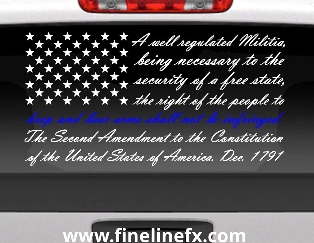 Second amendment american flag with blue line for police support vinyl window decal for cars