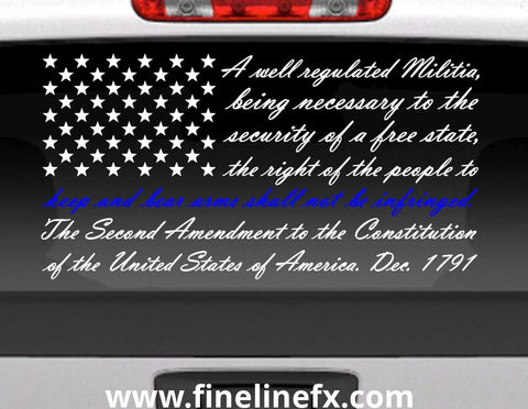 Second Amendment American Flag With Blue Line For Police Support Vinyl Decal Sticker for Cars Trucks and More