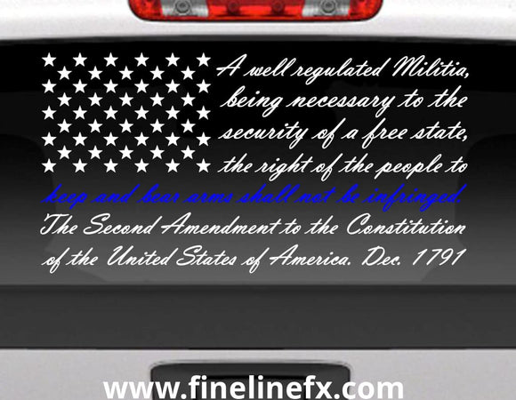 Second Amendment American Flag With Blue Line For Police Support Vinyl Decal Sticker for Cars Trucks and More - FineLineFX