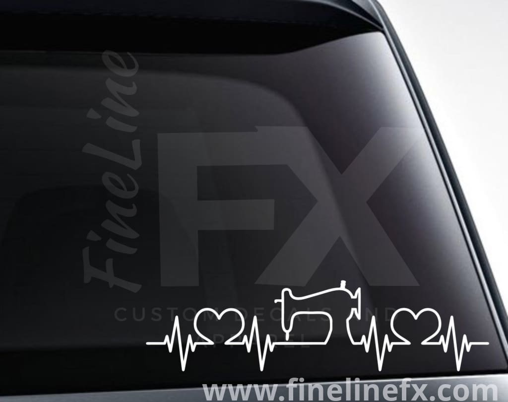 Sewing Machine Heartbeat Vinyl Decal Sticker