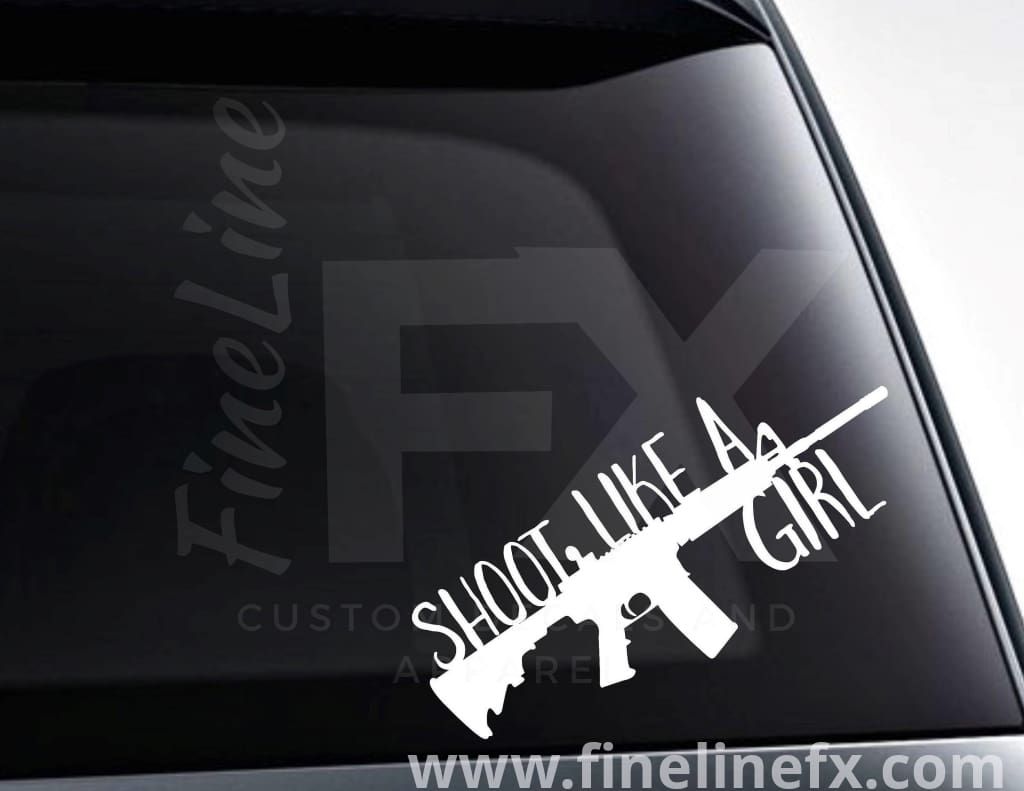 Shoot Like A Girl Rifle Silhouette Vinyl Decal Sticker