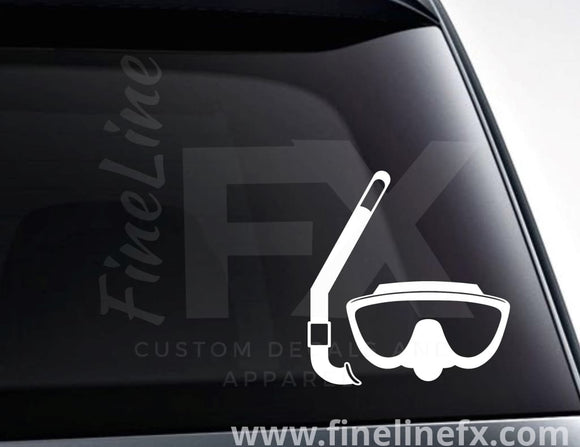 Snorkel And Scuba Diving Goggles Vinyl Decal Sticker - FineLineFX
