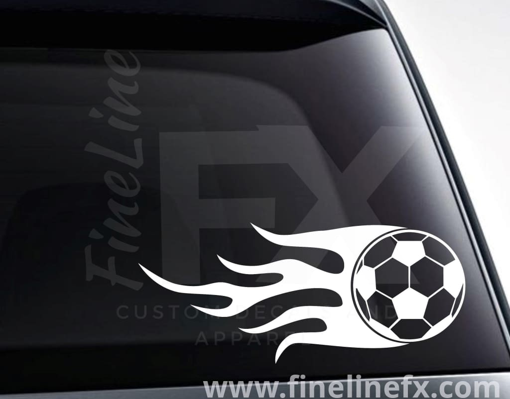 Soccer Ball With Flames Vinyl Decal Sticker