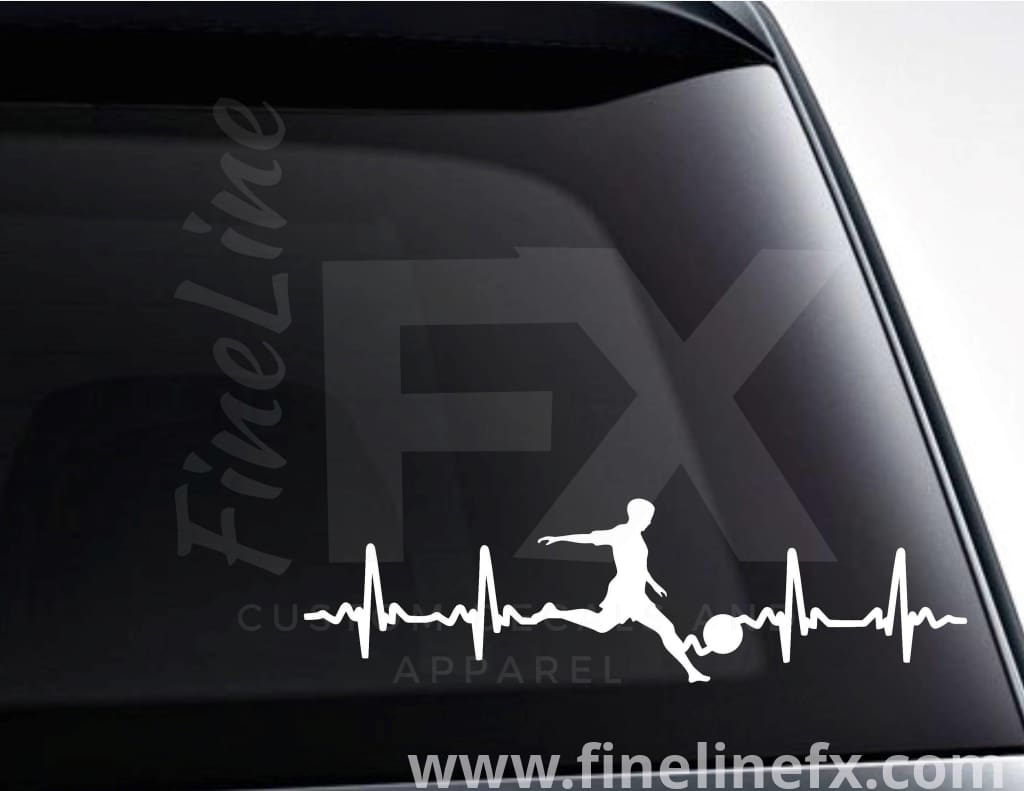 Soccer EKG Heartbeat Vinyl Decal Sticker