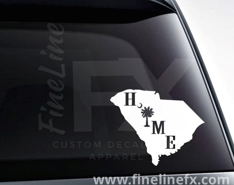 South Carolina Home Palmetto Tree And Crescent Moon Vinyl Decal Sticker