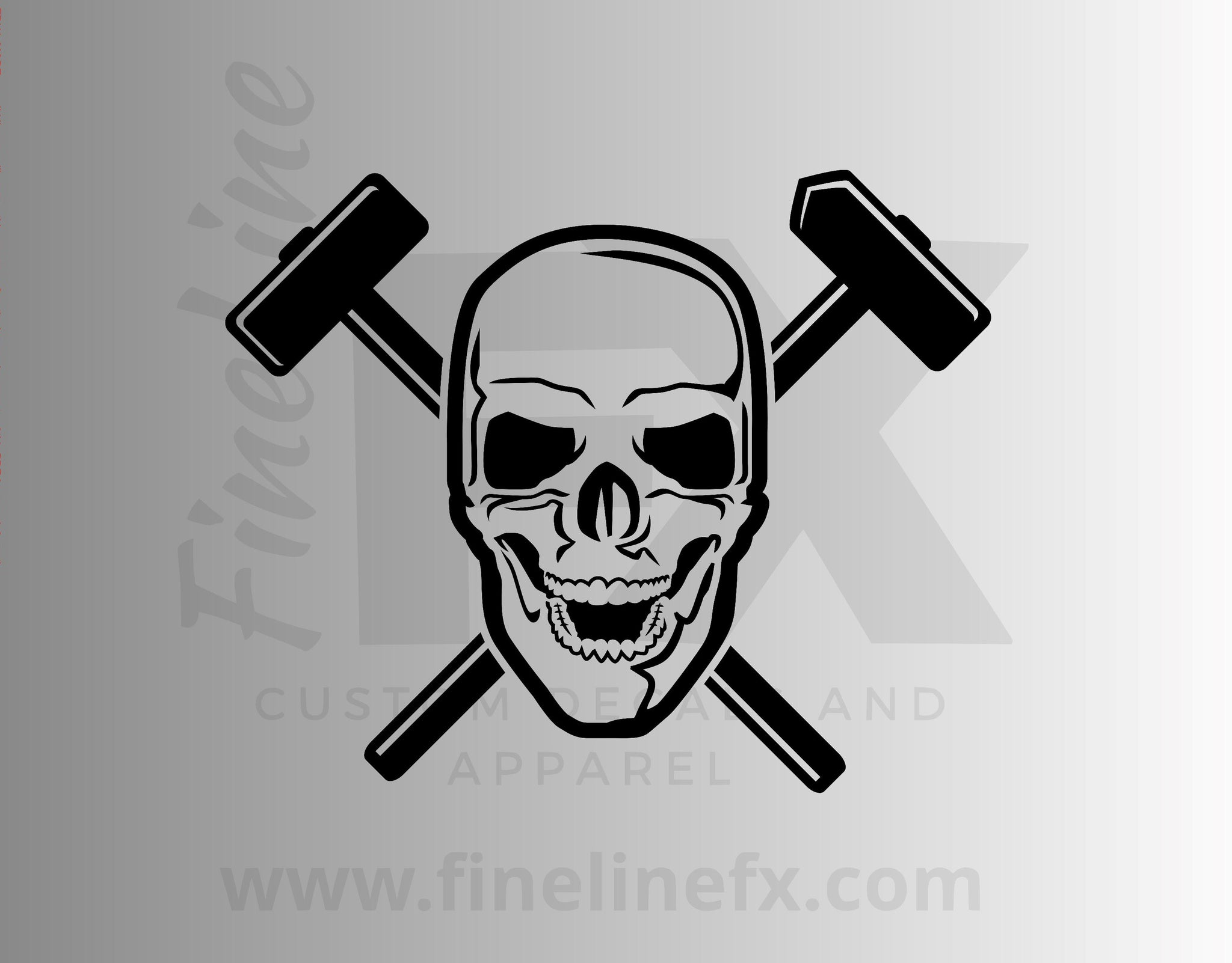 Union Steel Worker Skull And Sledgehammers Vinyl Decal Sticker