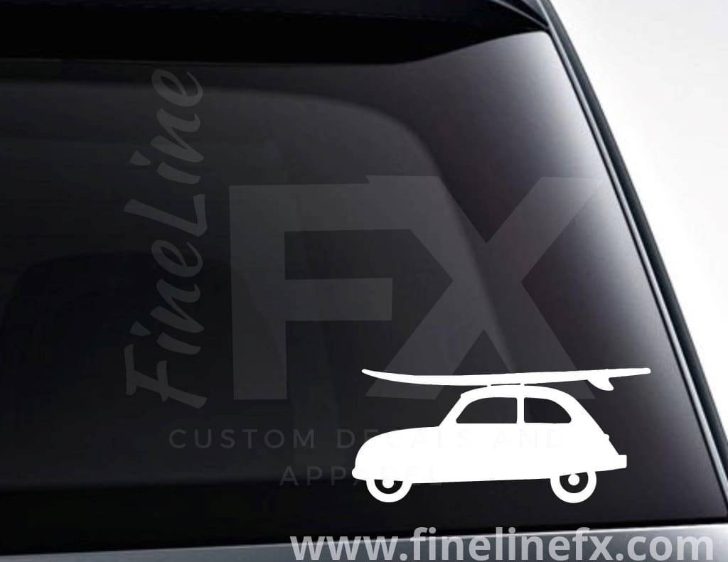 Surf Board Wagon Vinyl Decal Sticker