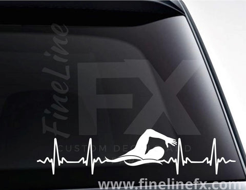 Swimming EKG Heartbeat Vinyl Decal Sticker