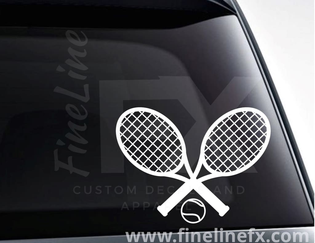 Tennis Rackets And Ball Vinyl Decal Sticker
