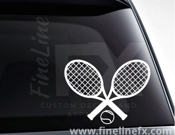 Tennis Rackets And Ball Vinyl Decal Sticker - FineLineFX