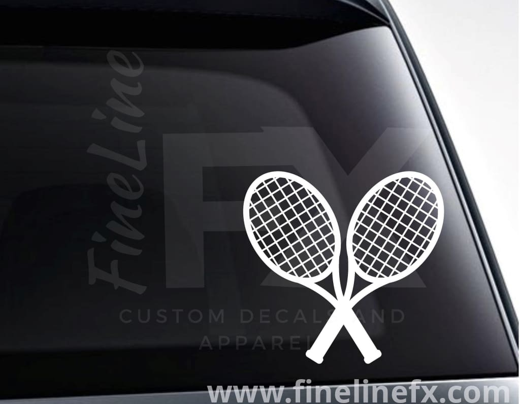 Tennis Rackets Crossed Vinyl Decal Sticker