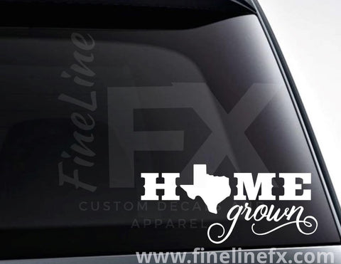 Texas Home Grown State Vinyl Decal Sticker