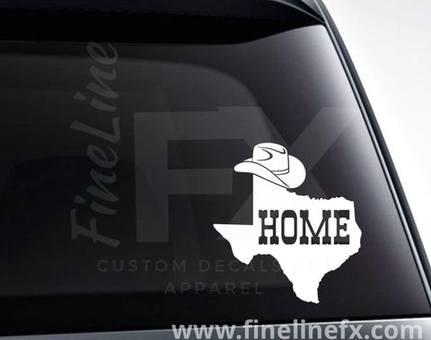 Texas Home State With Cowboy Hat Vinyl Decal Sticker